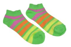 Pair Green, Orange, Yellow and Violet Striped Ladies Socks Stock Photography