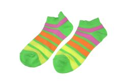 Pair Green, Orange, Yellow and Violet Striped Ladies Socks Royalty Free Stock Photo