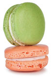 Pair of green and pink macaroons cake Stock Photography