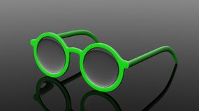 Pair of green  round-lens eyeglasses Stock Images