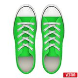 Pair of green simple sneakers. Realistic Vector Royalty Free Stock Photography