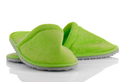 A pair of green slippers Stock Image
