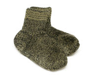 Pair of green woolen socks Stock Image