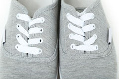 Pair of grey shoes Royalty Free Stock Images