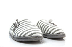 Pair of grey slippers Royalty Free Stock Images