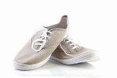 Pair of grey sport shoes Royalty Free Stock Image