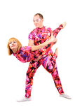 Pair of gymnasts. A pair of gymnasts in colorful stage costumes Stock Photos