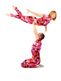 Pair of gymnasts. A pair of gymnasts in colorful stage costumes Stock Images