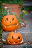 Pair of Halloween Jack-O-Lanterns Royalty Free Stock Photos