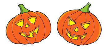 Pair of Halloween pumpkins Stock Photos
