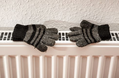 Pair of hand knitted striped woolen gloves Stock Image