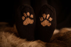 Pair of a hand knitted woolen socks with a cat paw pattern. On fur background stock images