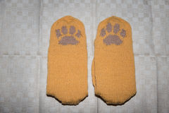 Pair of a hand knitted woolen socks with a cat paw pattern Stock Images
