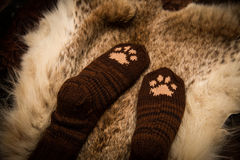 Pair of a hand knitted woolen socks with a cat paw pattern Stock Photos