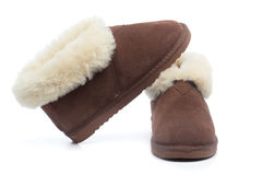 Pair of handcrafted leather shoes with wool lining Stock Photo