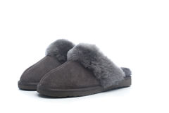Pair of handcrafted leather slippers with wool lining Stock Photography