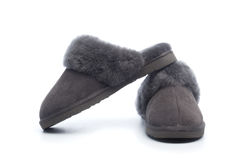 Pair of handcrafted leather slippers with wool lining Royalty Free Stock Images