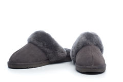Pair of handcrafted leather slippers with wool lining Stock Images