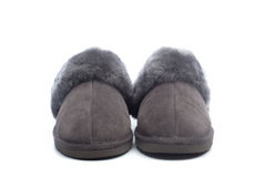 Pair of handcrafted leather slippers with wool lining Royalty Free Stock Image
