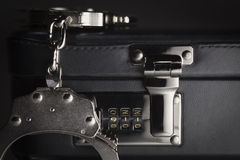 Pair of Handcuffs on Briefcase with 911 on Lock Royalty Free Stock Photos