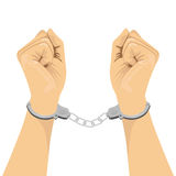 Pair of hands in handcuffs stock illustration