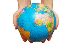 Pair of hands holding the globe Stock Images