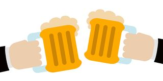 Pair of hands holding a pair of beers stock illustration