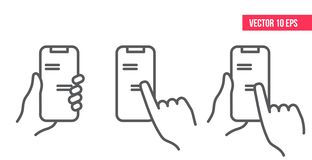 Pair of hands holding smartphone or mobile phone with chat or messenger application on screen. royalty free illustration