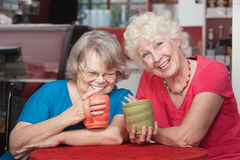 Pair of Happy Friends. Two smiling senior friends holding coffee mugs Royalty Free Stock Photo