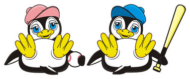 Pair happy penguins play to baseball. Two penguins sitting together and holds an elements of baseball game stock illustration