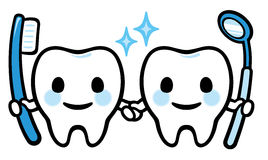 Pair of happy smiling tooth Royalty Free Stock Photography