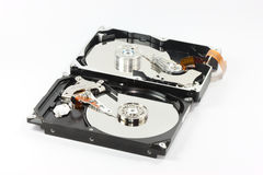 Pair of hard disk on white backgound Royalty Free Stock Photo