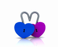 Pair of heart-shaped padlocks - 3D Stock Photography