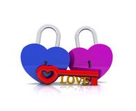 Pair of heart-shaped padlocks - 3D Royalty Free Stock Image