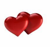 Pair of Hearts. 3D render of 2 valentine's hearts Royalty Free Stock Photos