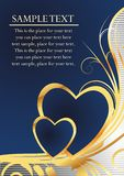 Pair of hearts. On a dark blue background with an ornament simulating gold and the block for the text Stock Photos