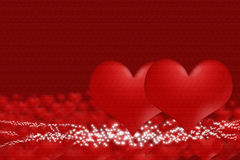 Pair of hearts on a background of blurry hearts Royalty Free Stock Image