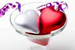 Pair of hearts in a glass vase Valentines day stock photo