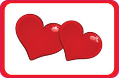 Pair of hearts in red rectangle Royalty Free Stock Photography