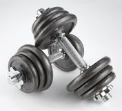 Pair of heavy dumbbells Royalty Free Stock Photography