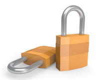 Pair of heavy duty padlocks in closed position Royalty Free Stock Photography
