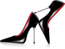 Pair of high heel shoes. Vector pair of high heel shoes with metal stiletto Stock Photos