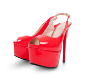 Pair of high heel shoes. Red high hill shoes isolated on white royalty free stock photography