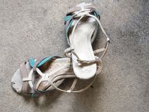Pair of high heeled, old lady shoes, scratched leather Royalty Free Stock Images