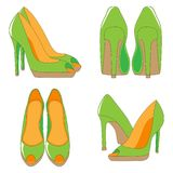 A pair of high-heeled shoes. Hand drawn vector illustration. Front view, back and side view Stock Images