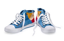 A pair of high top color denim gymshoes Royalty Free Stock Images