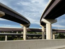 Pair of Highway Overpasses. Highway Overpasses in a complex traffic interchange Royalty Free Stock Photo