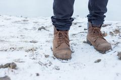 A pair of hiker trekking boots in winter royalty free stock images