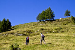Pair of hikers stock images