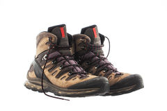 A pair of Hiking boots, isolated on white background Royalty Free Stock Images